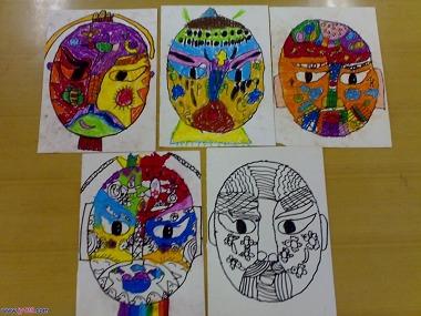 幼儿绘画作品脸谱图