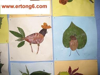 幼儿园剪贴画-树叶贴画公鸡-秋天