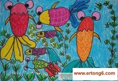 舞蹈的金鱼幼儿美术作品