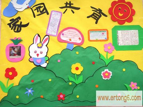 家园共育栏  春天主题装饰:家园共育栏幼儿园主题墙