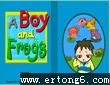a boy and frogs.九